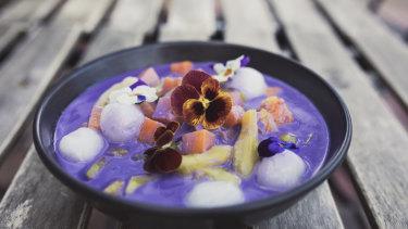 Lolo and Lola at Watson. Ginataang Halo-Halo: Warm purple yam and coconut sauce, glutinious rice balls, sago and jackfruit and yams.