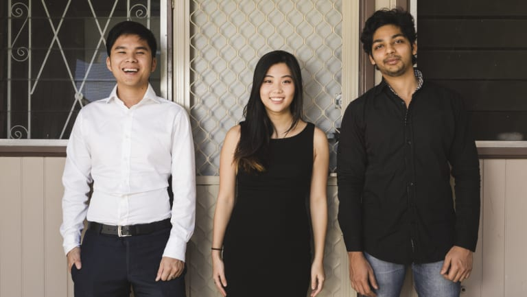 Adrian Yong, Joey Wong, and Rushil Agarwal - co-founders of Rentality, a start-up company that aims to tackle homelessness.