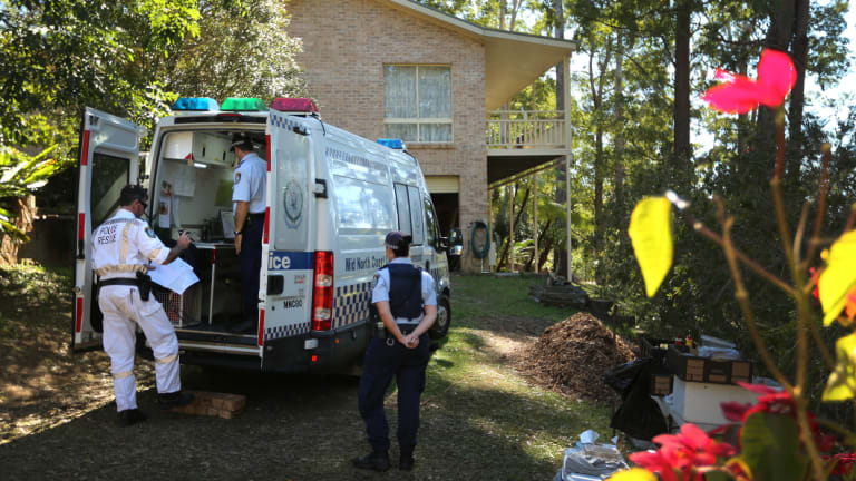 Search: Police at a command post outside the home of William Tyrrell's grandmother.