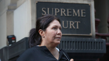 Roberta Williams is seen leaving the Melbourne Supreme Court in June 2018.
