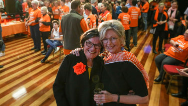 New Indi independent Helen Haines (right) with Cathy McGowan, the two-term representative who handed her the reins.