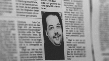 A photo of Niels Hoegel in an old issue of the Nordwest-Zeitung newspaper.