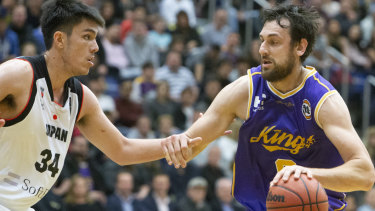 Star power: Andrew Bogut takes on Hogland Hugh of Japan.