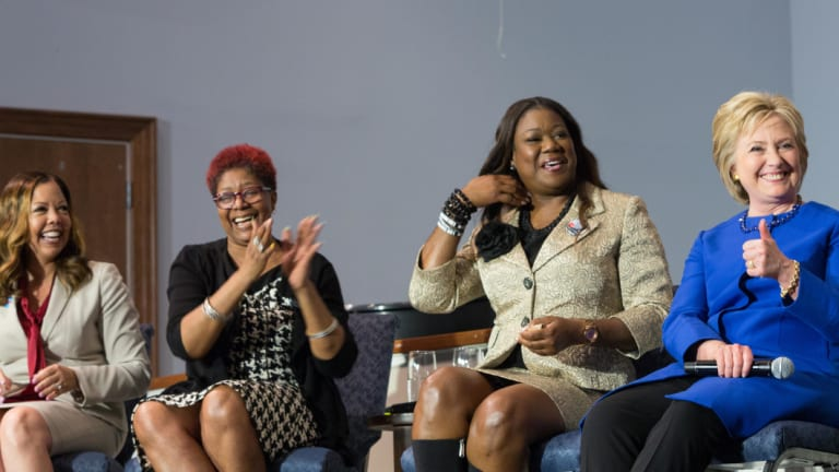 Lucy McBath, far left, at a forum on gun violence with Hillary Clinton in 2016.