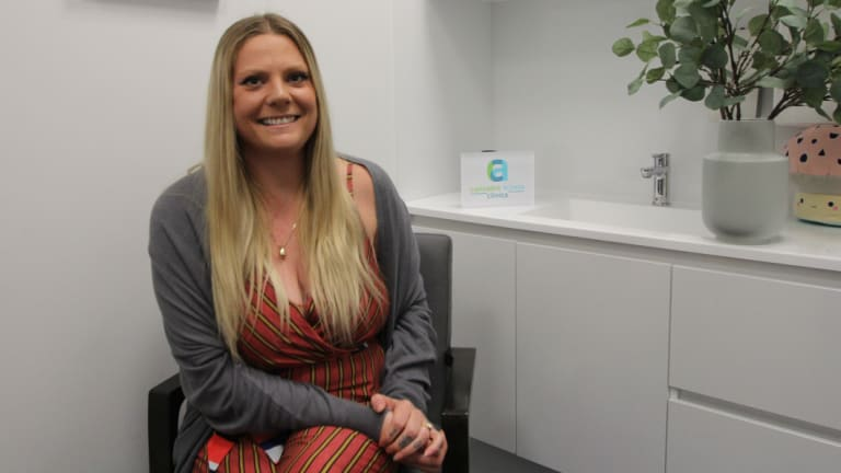 Francesca James, 27, at the Cannabis Access Clinic in Subiaco.