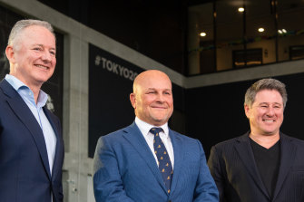 Outgoing Nine boss Hugh Marks, interim Rugby Australia CEO Rob Clarke and Stan chief Mike Sneesby announcing rugby's new broadcast deal last year.