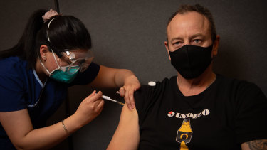 Andrea Lorenzon getting vaccinated in Hoppers Crossing