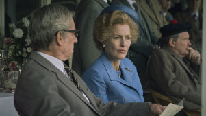The Crown S4. Picture shows: Denis Thatcher (STEPHEN BOXER) and Margaret Thatcher (GILLIAN ANDERSON). Filming Location: Rothiemurchus, Scotland Gillian Anderson plays Margaret Thatcher in season 4 of The Crown.