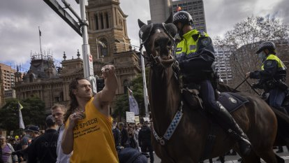 Protester who allegedly struck horse refusing COVID-19 test in custody, court told