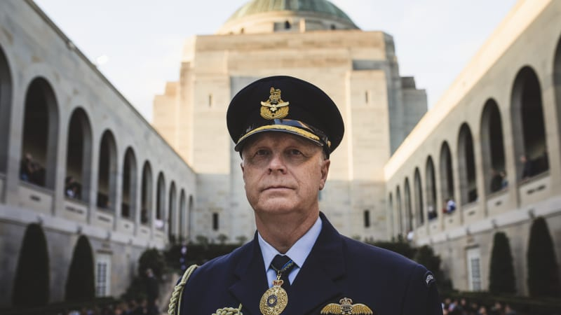 Image result for The outgoing chief of the Australian Defence Force, Air Chief Marshal Mark Binskin, at the Australian War Memorial on Thursday.