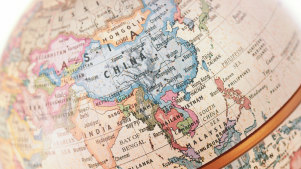 Globe map with focus on China
