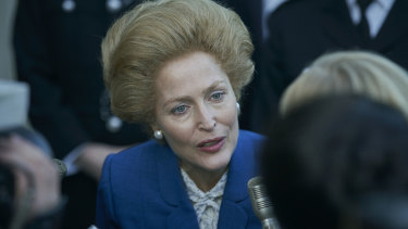 Gillian Anderson as Margaret Thatcher in The Crown: ''She narrowed in on that hairstyle very early in her political life and God only knows why she chose it.''