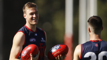 Tom McDonald at Melbourne training this week.