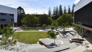 Education Minister Sue Ellery takes media through the new Bob Hawke school in Perth.