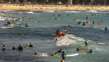 Manly residents get in their exercise on Sunday.