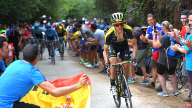 England's Simon Yates during his landmark win for Mitchelton-Scott in the Vuelta a Espana in 2018.