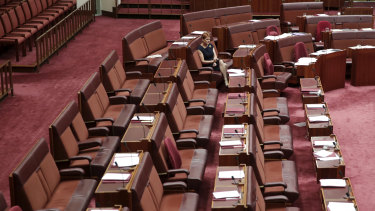 Senator Pauline Hanson sits alone during a vote opposing a motion condemning comments made by Bettina Arndt.
