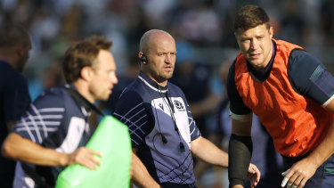 Unhappy Scots: While events swirled around, coach Gregor Townsend clenched his teeth so hard it looked as if he might crack a molar.