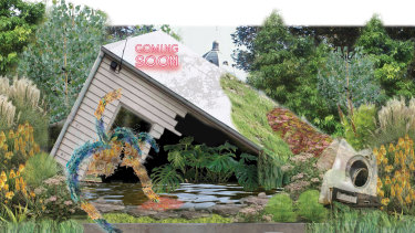 Render of a dystopian landscape, designed by AKAS, was to be shown at this year's Melbourne International Flower and Garden Show.