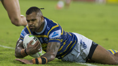Floodgates open: Manu Mau scores Parramatta's first try against the Raiders in two years: