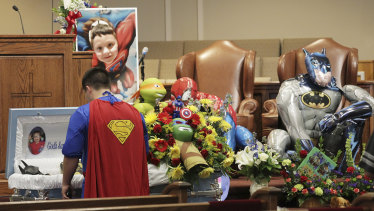 Dale Hall attended his brother Jacob's funeral as Superman at Oakdale Baptist Church in Townville, South Carolina, in 2016.