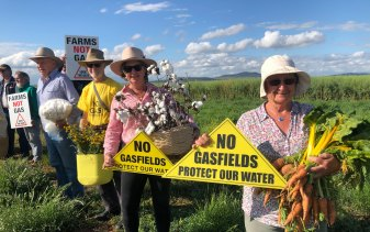 Locals protest against the Narrabri gas project, that has received final environmental approval.
