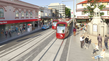An artist's impression of the Parramatta light rail. Major construction on stage one will commence next month.