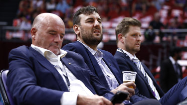 Andrew Bogut looks on during the Kings' match against the NZ Breakers last week.