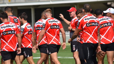 Rallying the troops: Paul McGregor puts the Dragons through their paces in Mudgee on Friday ahead of Saturday's Charity Shield.