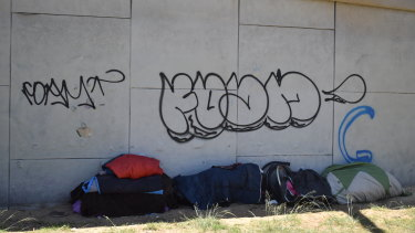 People sleeping rough at the Lord Street underpass in Perth have been bagging up rubbish but have nowhere to put it.