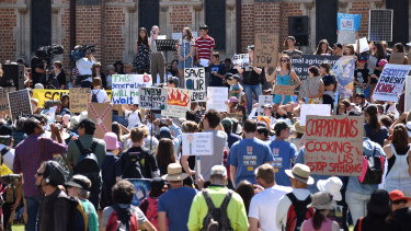 Children protested government inaction on climate change on Friday in Perth's CBD.