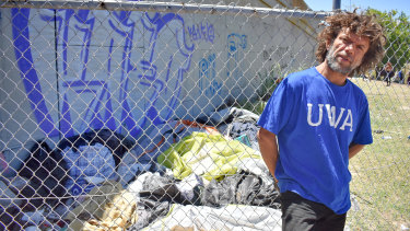 Raymond Ward, 47, has been bagging rubbish at 'tent city' but gets nowhere when he asks for the City of Perth to put in a skip bin near the Lord Street underpass.