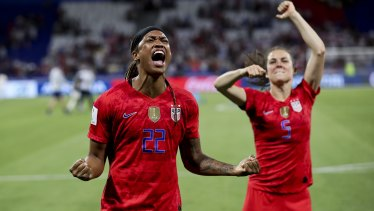 Fired up: United States players Jessica McDonald, left, and Kelley O'Hara.