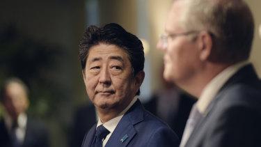 Japanese Prime Minister Shinzo Abe and Prime Minister Scott Morrison.