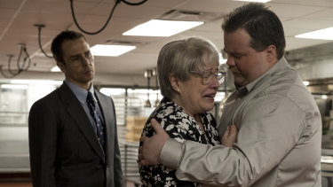 Sam Rockwell (left), Kathy Bates and Paul Walter Hauser in a scene from Richard Jewell.
