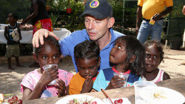 Former prime minister Tony Abbott during his visit to the Gunyangara community, North East Arnhem Land, in 2014.