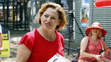 Former Labor deputy premier Jackie Trad, seen at the polling station in West End on Saturday, lost her seat of South Brisbane to the Greens.