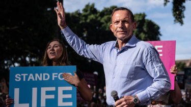Former prime minister Tony Abbott during an anti-abortion rally in Sydney last Sunday.