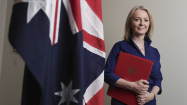 Secretary of State for International Trade Liz Truss is trying to strike free-trade agreements with Australia, the United States and Japan.