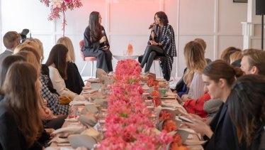 Julia Frank and Julie Stevanja at the Tinder x Vogue Australia Boss Lady Brunch.