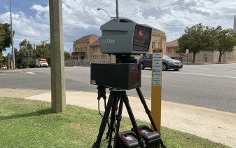 A Jenoptik speed camera, similar to this one deployed on Plain Street, East Perth, was destroyed in the incident.