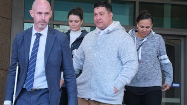 Hayden Tarawa (centre) at the Melbourne Magistrates Court.