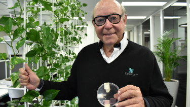 ClearVue founder and chief executive Victor Rosenberg with the tiny prototypes first produced.