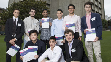 Sydney Grammar School cleans up in the 2018 HSC. Standing (left to right): Richard Palumbo, Nicholas Rice, Kiran Gupta, Joshua Mok, Eric Pavlou, Alexander Crawford. Sitting (left to right): Alexander Desmond Yao, Nathan Scotter and Jack Zimmerman.
