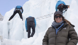 Jen Peedom while shooting Sherpa on Mt Everest.
