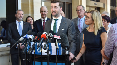 Zak Kirkup gives his first press conference at WA Parliament as opposition leader.