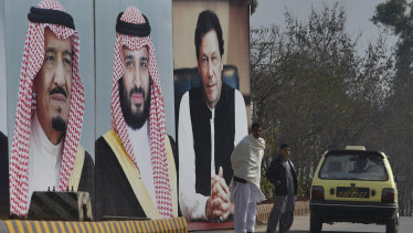 Huge portraits of Saudi leaders and the Pakistani Prime Minister line a highway in Islamabad to mark the visit by Saudi Arabia's crown prince to Pakistan.