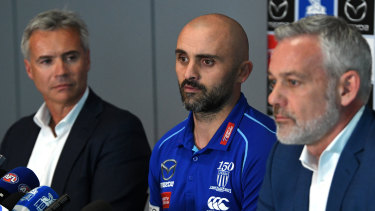 New North Melbourne head coach Rhyce Shaw addresses the media after his appointment on Thursday.