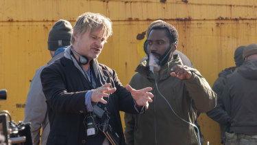 Christopher Nolan directs John David Washington on the set of Tenet.