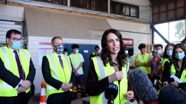 New Zealand Prime Minister Jacinda Ardern answers questions at the Manukau Institute of Technology in Auckland on Thursday.